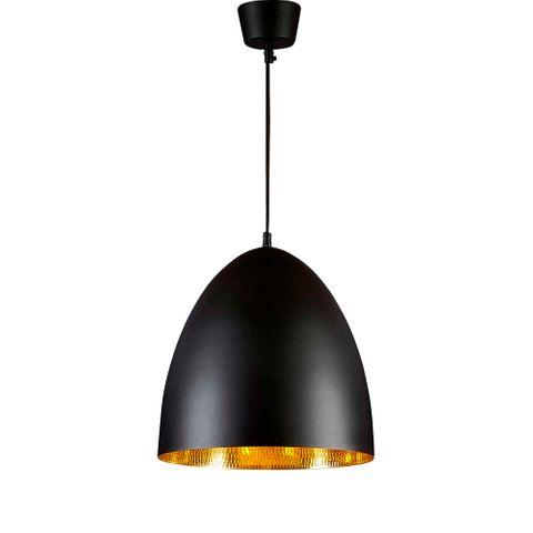Egg Ceiling Pendant Black and Brass