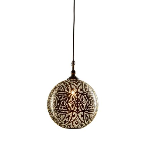 Moroccan Ball Ceiling Lamp 30cm Silver