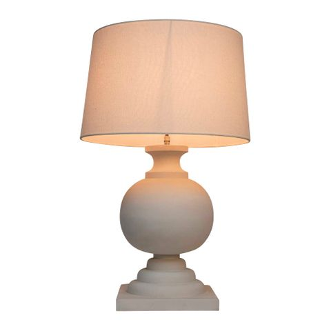 Coach Base Only - White - Turned Wood Ball Balustrade Table Lamp Base Only
