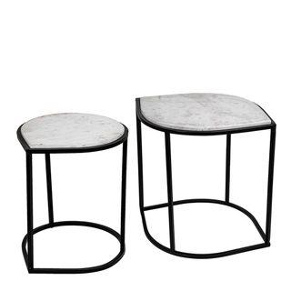 Kobi Table Set 2 White Marble Stone & Black