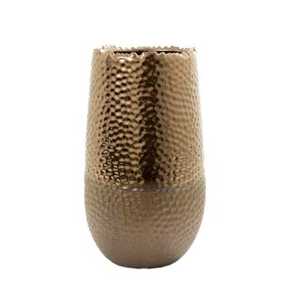 Dimpled Vase Ceramic Sml 16x31 Bronze