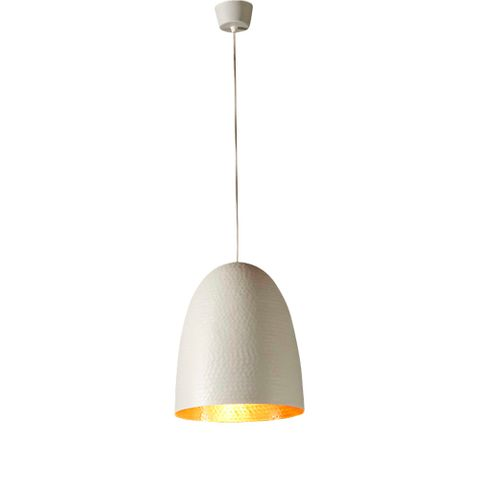 Dolce Beaten Wht Copper Hanging Lamp