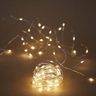 Fairy Lights 5M BO Silver Wire
