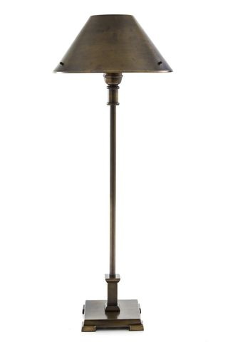 Bruxelles - Antique Brass - Tall Slender Brass Table Lamp with Square Base and Metal Shade