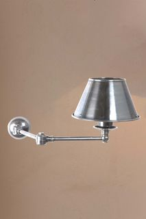 Portland Wall Light with Metal Shade Antique Silver