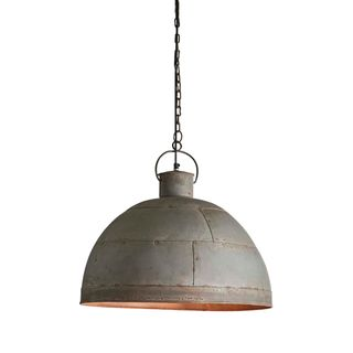 Granada Medium - Vintage Grey - Iron Riveted Dome Pendant Light