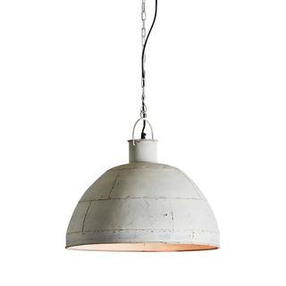 Granada Medium - Vintage White - Iron Riveted Dome Pendant Light