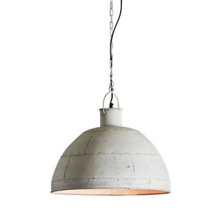 Granada Medium - Vintage White - Iron Riveted Dome Pendant Light