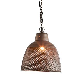 Riva Small - Antique Copper - Perforated Iron Dome Pendant Light