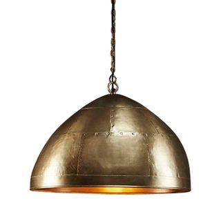 P51 Medium - Antique Brass - Iron Riveted Dome Pendant Light