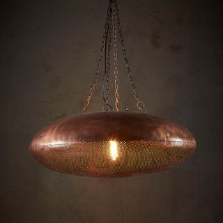 Saucer - Antique Copper - Perforated Iron Ellipse Pendant Light