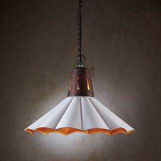 Francis - Old White - Fluted Iron Pendant Light