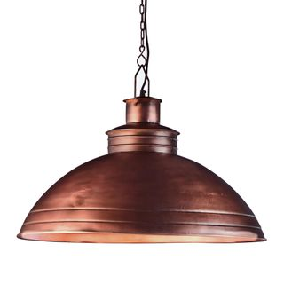 Sheldon - Antique Copper - Large Iron Shallow Dome Pendant Light