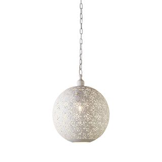 Luna - White - Perforated Round Pendant Light