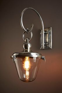 Savoy Outdoor Wall Light with Glass Shade Antique Silver