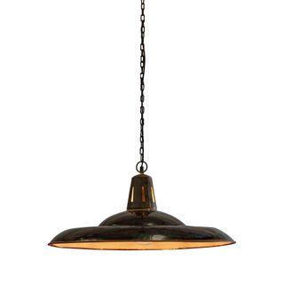 Zetland Large - Old Black - Enamelled Iron Dish Pendant Light