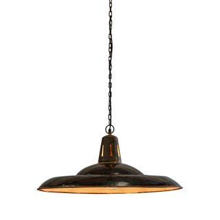 Zetland Large - Old Black - Enamelled Iron Dish Pendant Light