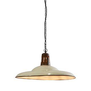 Zetland Large - Old White - Enamelled Iron Dish Pendant Light