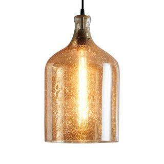 Lustre Flagon - Pale Gold - Stone Effect Glass Bell Pendant Light