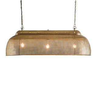 Riva Long - Antique Brass - Perforated Iron Elongated Pendant Light