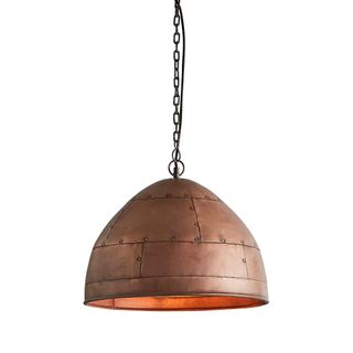 P51 Small - Antique Copper - Iron Riveted Dome Pendant Light
