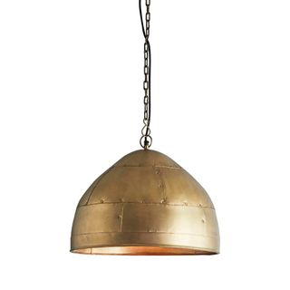 P51 Small - Antique Brass - Iron Riveted Dome Pendant Light
