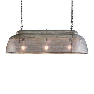 Riva Long - Zinc - Perforated Iron Elongated Pendant Light