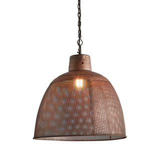 Riva Medium - Antique Copper - Perforated Iron Dome Pendant Light