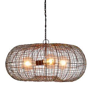Lobster - Antique Copper - Wire Weave Ellipse Pendant Light