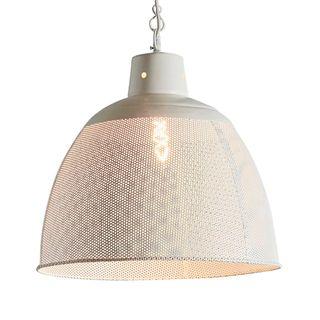 Riva Large - Matt White - Perforated Iron Dome Pendant Light