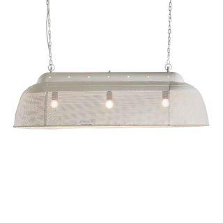 Riva Long - Matt White - Perforated Iron Elongated Pendant Light