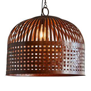 Esch Medium - Rust - Woven Iron Strips Pendant Light