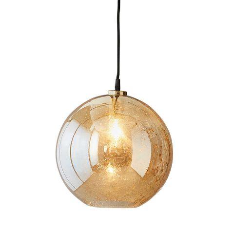 Lustre Ball - Pale Gold - Stone Effect Glass Ball Pendant Light