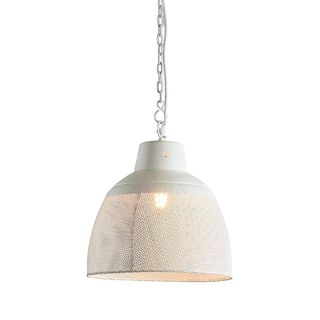 Riva Small - Matt White - Perforated Iron Dome Pendant Light