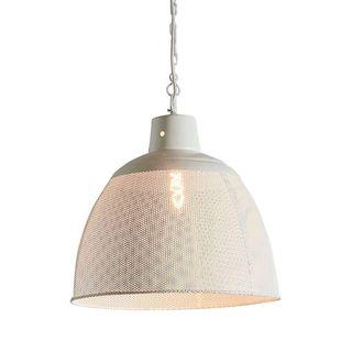 Riva Medium - Matt White - Perforated Iron Dome Pendant Light