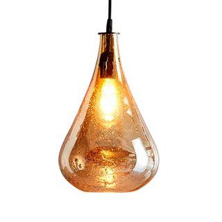 Lustre Teardrop - Pale Gold - Stone Effect Glass Teardrop Pendant Light