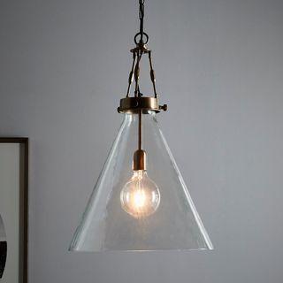 Galveston Large - Antique Brass/Clear - Hand Blown Glass Adjustable Cone Pendant Light