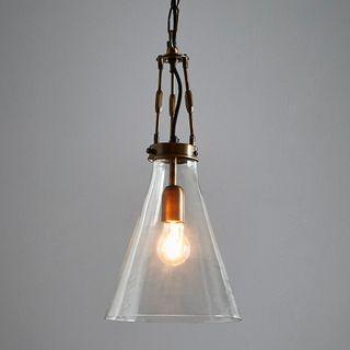 Galveston Small - Antique Brass/Clear - Hand Blown Glass Adjustable Cone Pendant Light