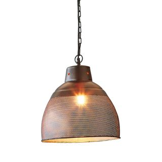Riva Small - Matt Black/Gold - Perforated Iron Dome Pendant Light