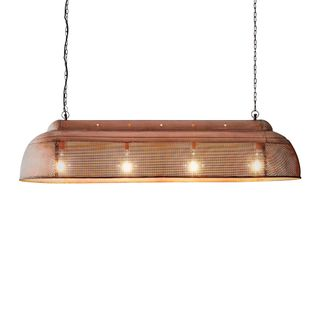 Riva Extra Long - Antique Copper - Perforated Iron Elongated Pendant Light