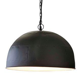 Noir Large - Black With White Interior - Extra Large Iron Dome Pendant Light