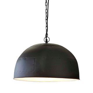 Noir Small - Black With White Interior - Small Iron Dome Pendant Light