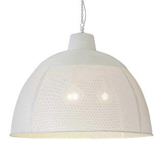 Riva Extra Large - Matt White - Perforated Iron Dome Pendant Light