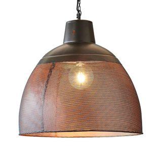 Riva Large - Black/Gold - Perforated Iron Dome Pendant Light