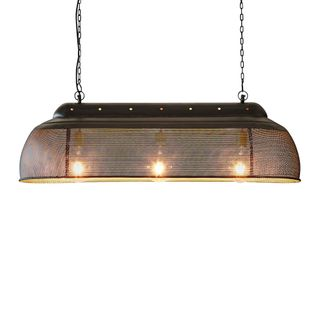 Riva Long - Matt Black/Gold - Perforated Iron Elongated Pendant Light