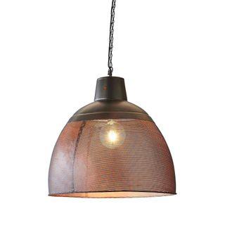 Riva Medium - Black/Gold - Perforated Iron Dome Pendant Light