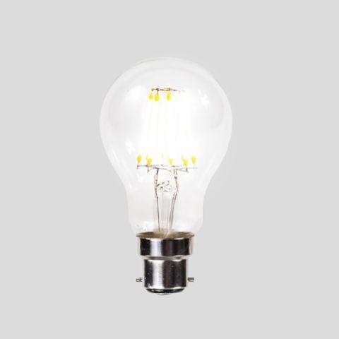 A60 LED Filament - Clear Glass - 6W B22 2200k