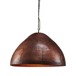 P51 Large - Antique Copper - Iron Riveted Dome Pendant Light