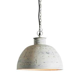 Granada Small - Vintage White - Iron Riveted Dome Pendant Light