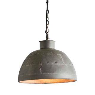 Granada Small - Vintage Grey - Iron Riveted Dome Pendant Light
